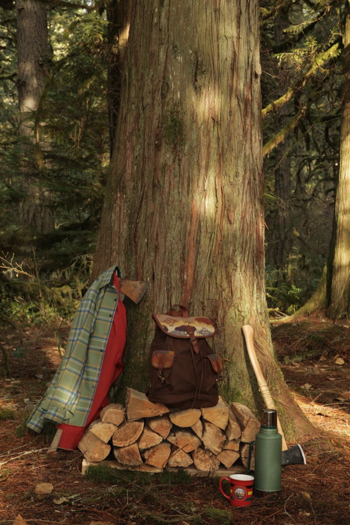 Some Pendleton products at the base of a tree