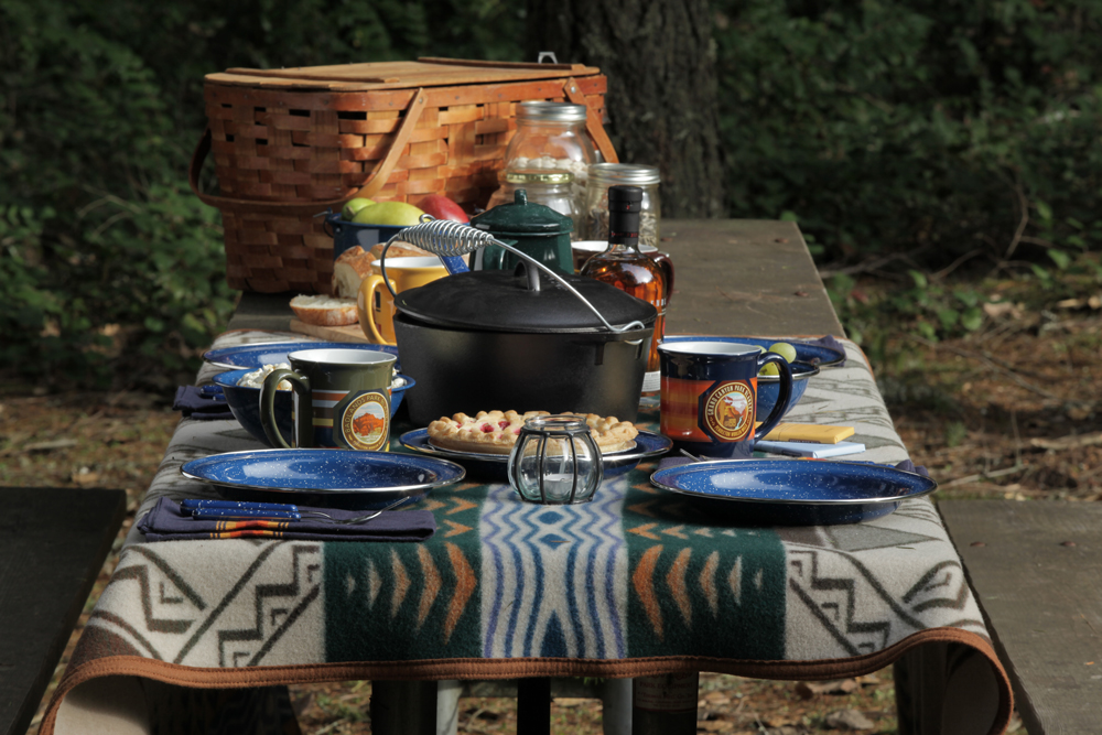 A picnic table spread with lots of goodies