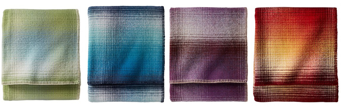 Eco-wise ombre plaid bed blankets