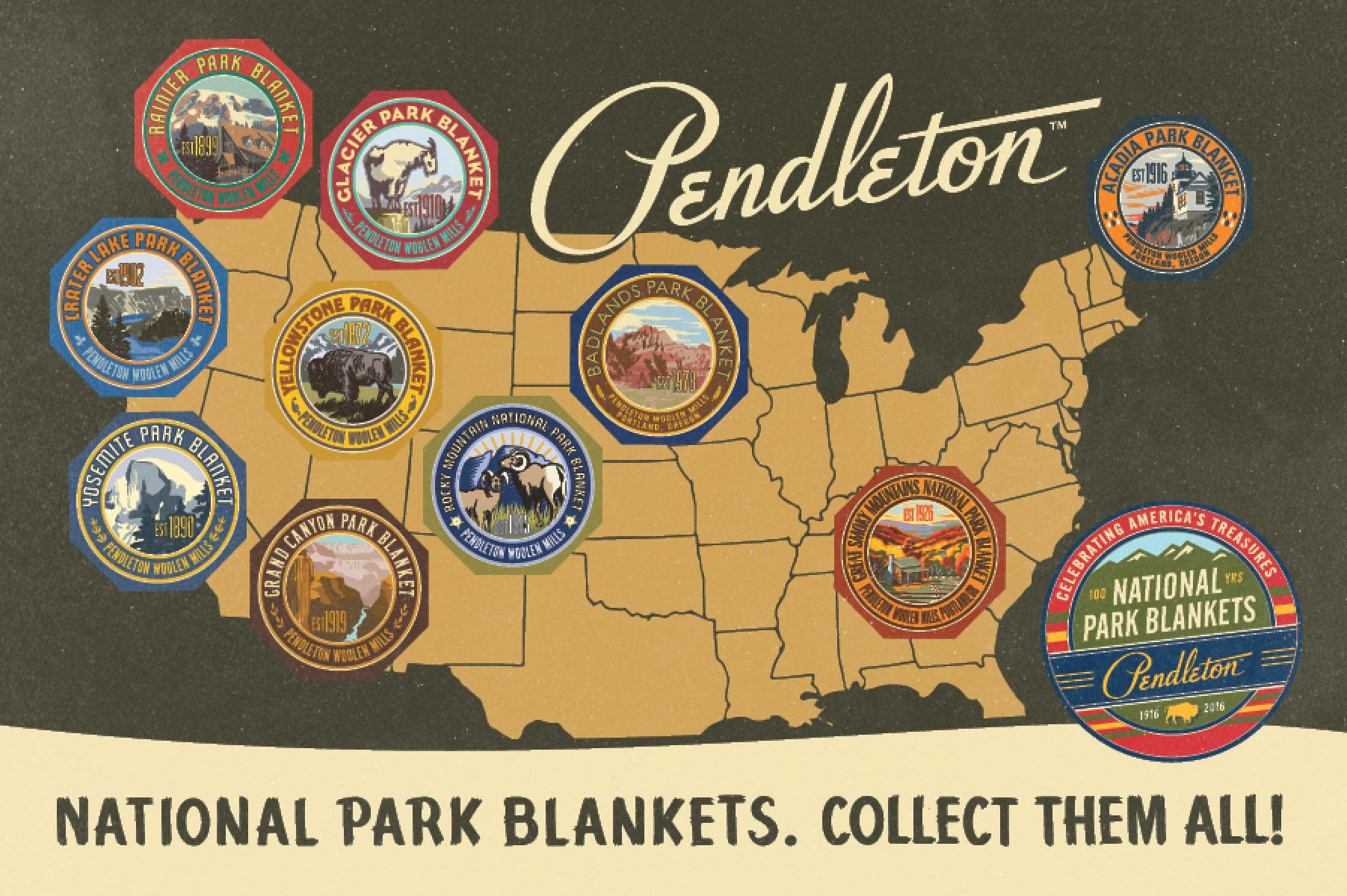 Pendleton postcard of National park badges