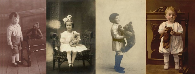 A collage of old photos of children holding