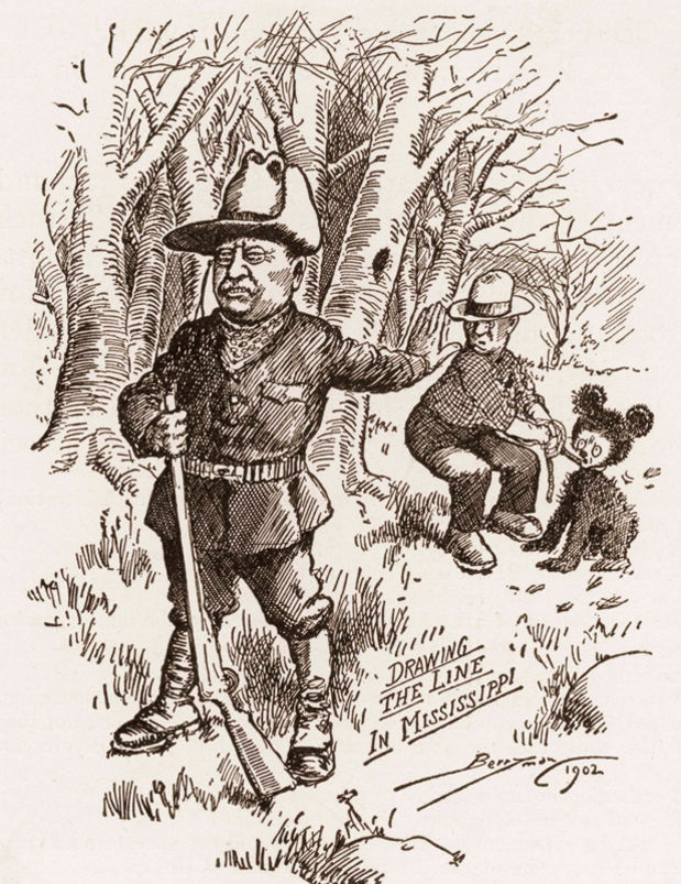 A cartoon showing Teddy Roosevelt refusing to take a shot at a