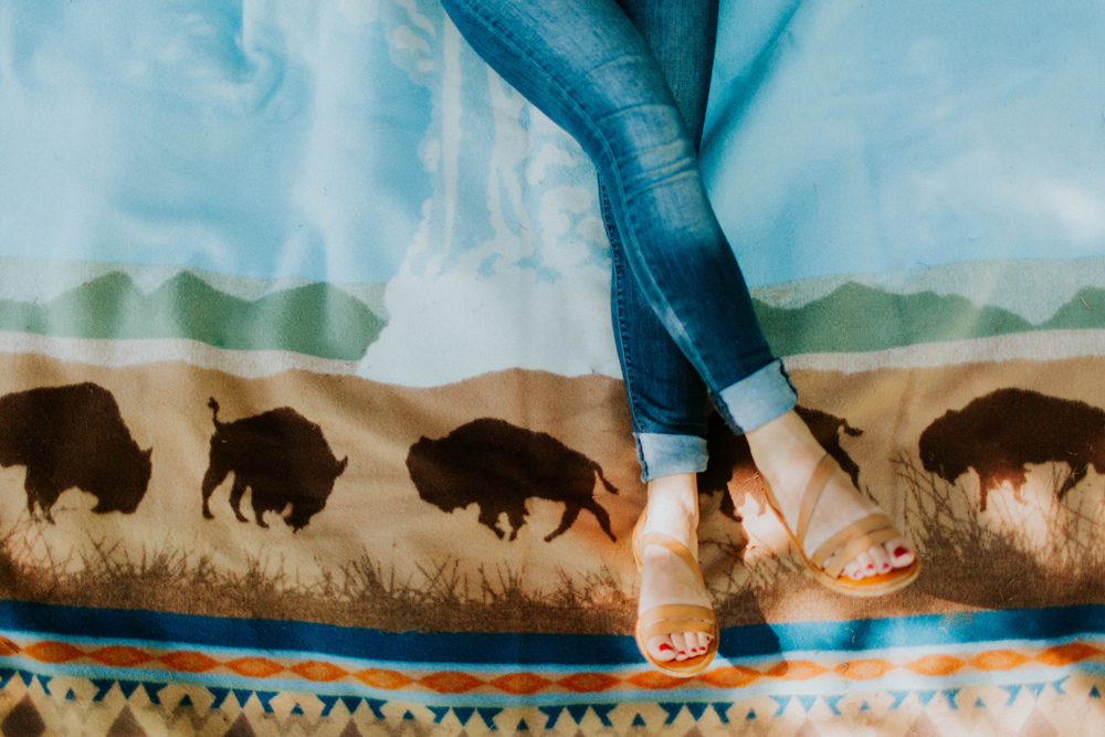 Cassy_Berry_A woman's legs on the blanket, showing the buffalo border