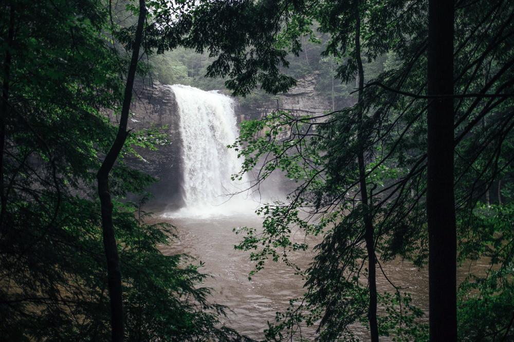 Matthews_ A waterfall empties into a lak