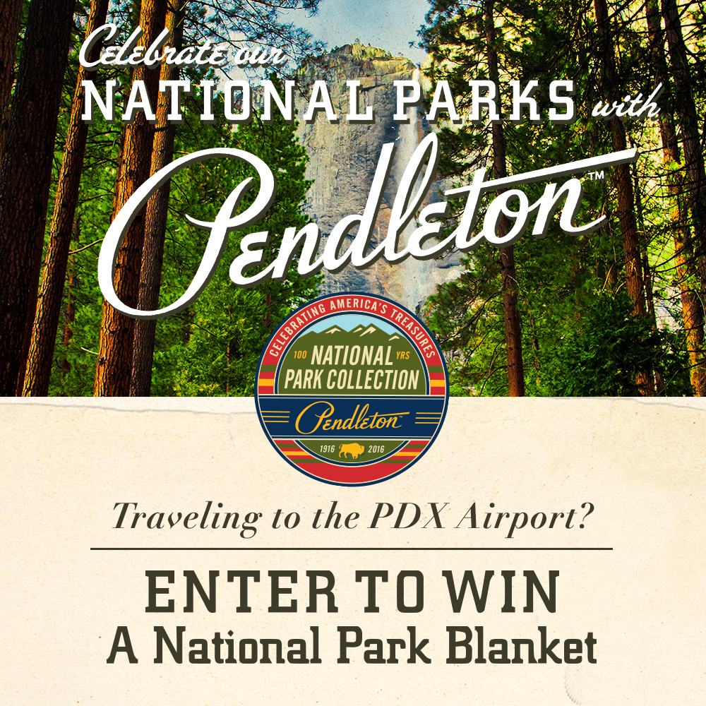 Announcement of how to win a Pendleton national park blanket at the Portland Airport (PDX)
