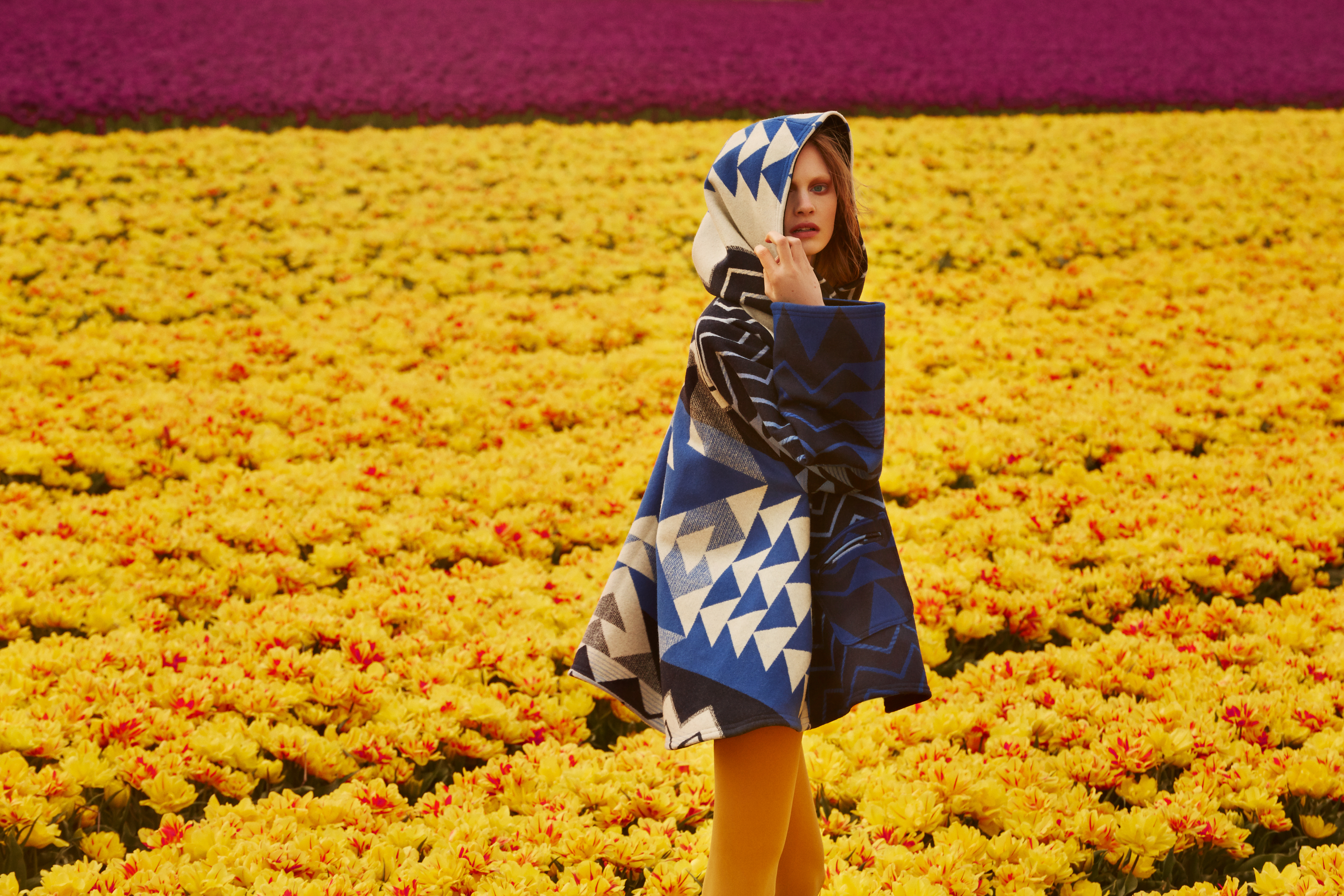 A model wearing a blue cape stands in a field of yellow tulips.