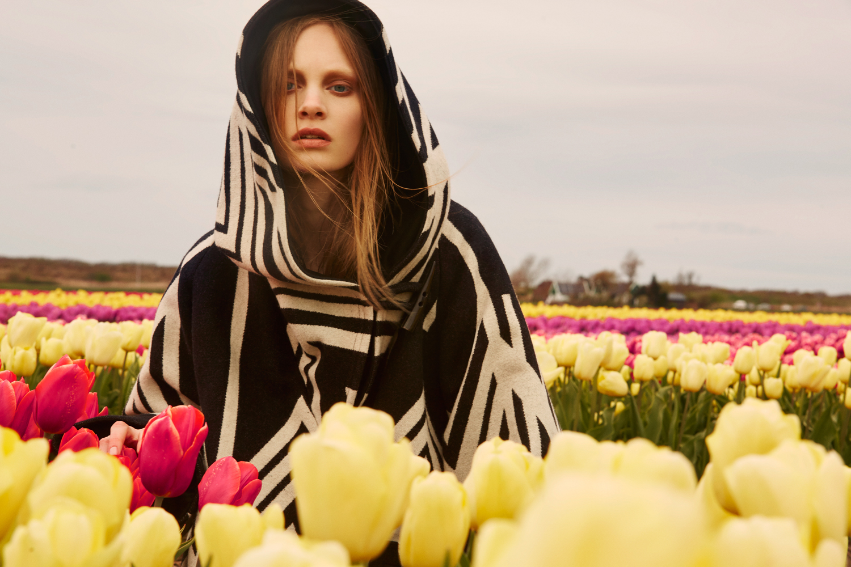 A model in a Lindsey Thornburg cape.