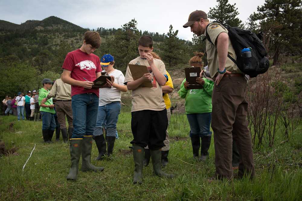 Students taking field notes in Rocky Mountain National Park