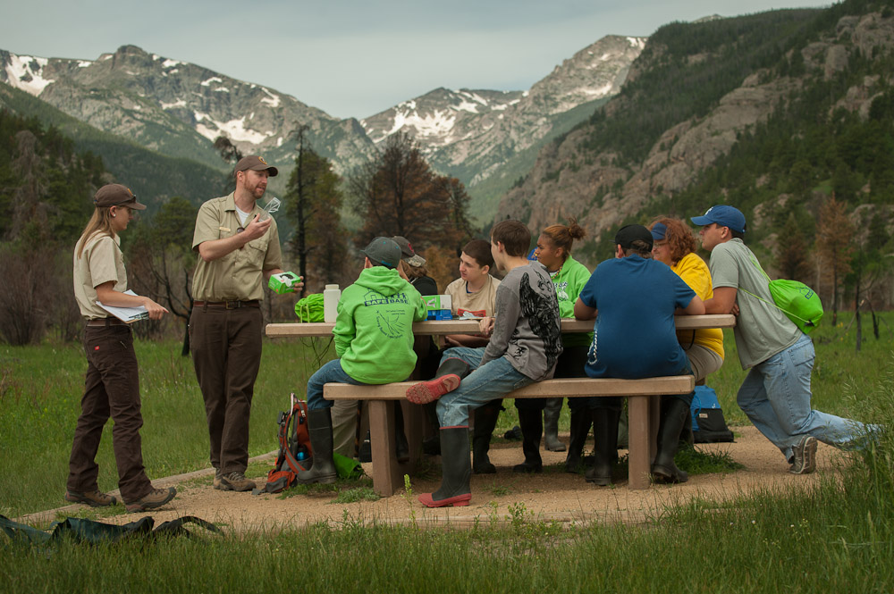 Trevor teaches a group of students in Rocky Mountain National Park