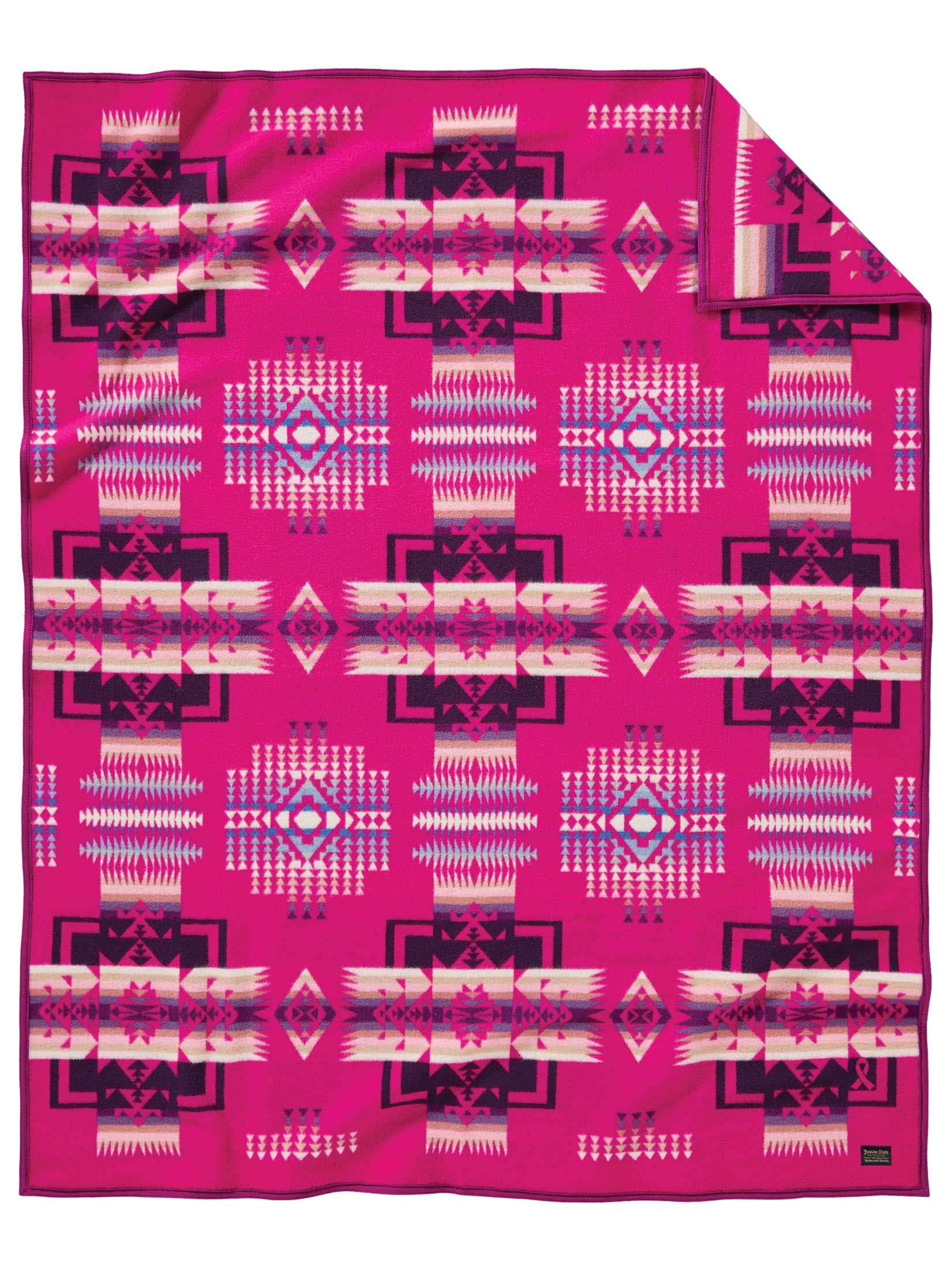 A flat shot of the special cherry pink Chief Joseph blanket that benefits NARA's women's wellness programs