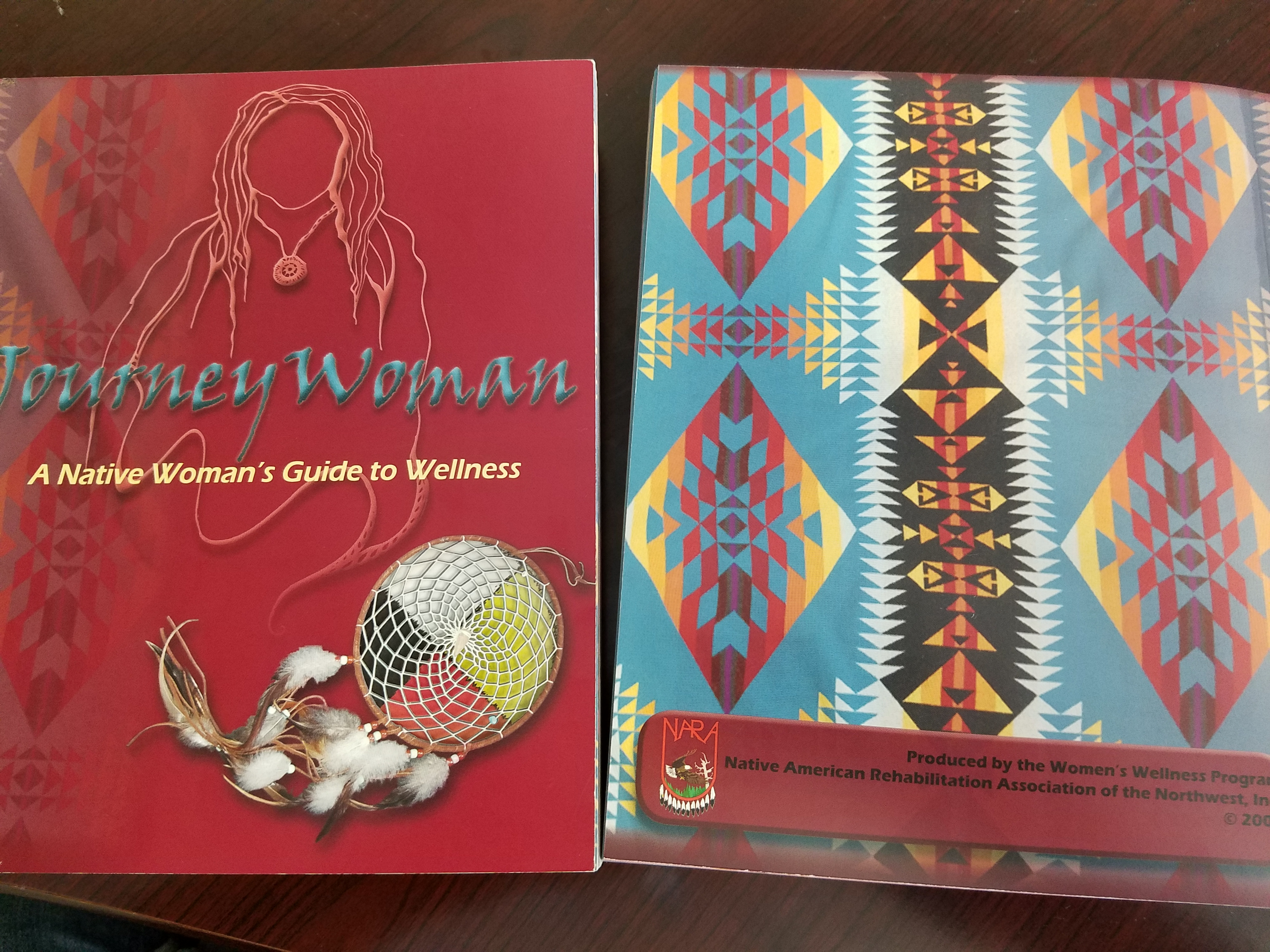 Women's wellness texts distributed by NARA. Pendleton patterns are used with permission in these culturally specific publications that help guide Native American women through health and wellness screenings.