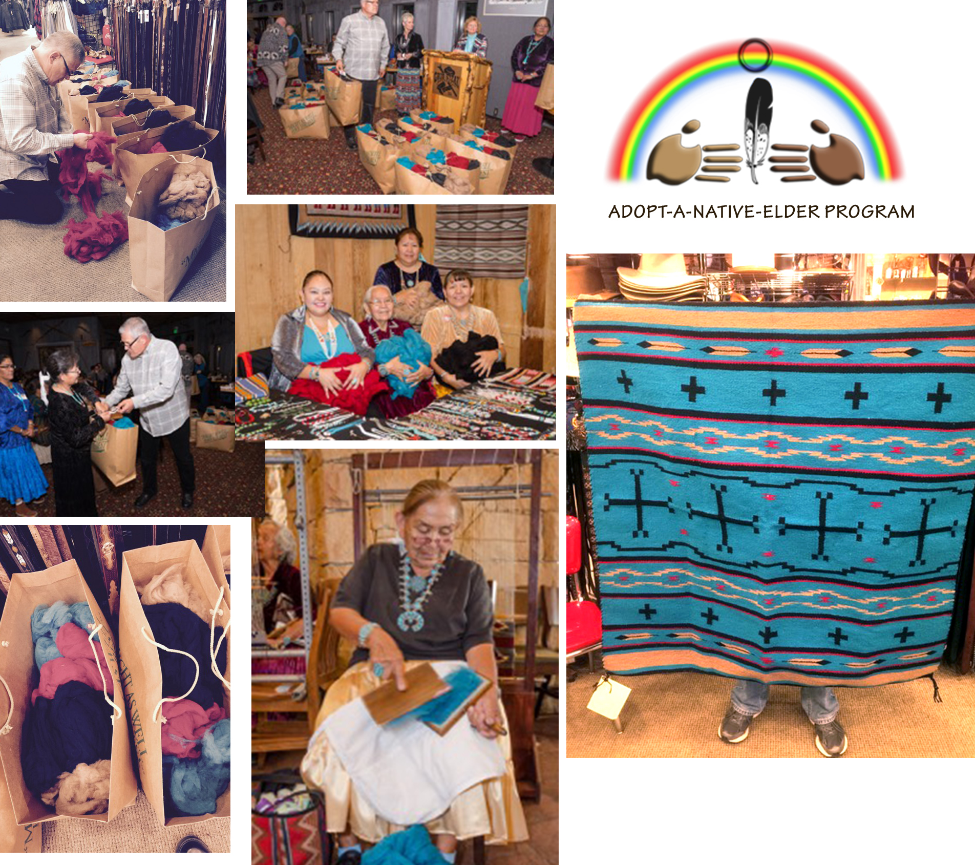 collage of photos showing Native American weavers choosing and carding wool for the contest.