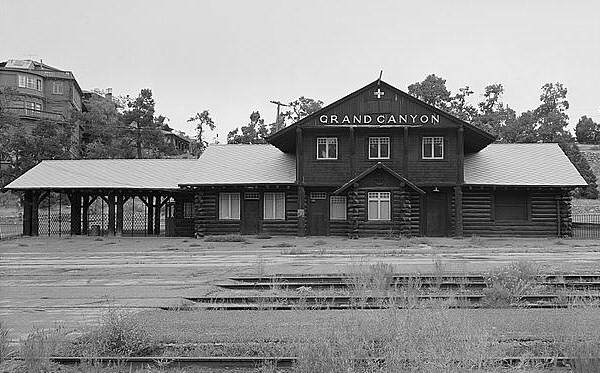 VIntage photo of the Grand Canyon depot.