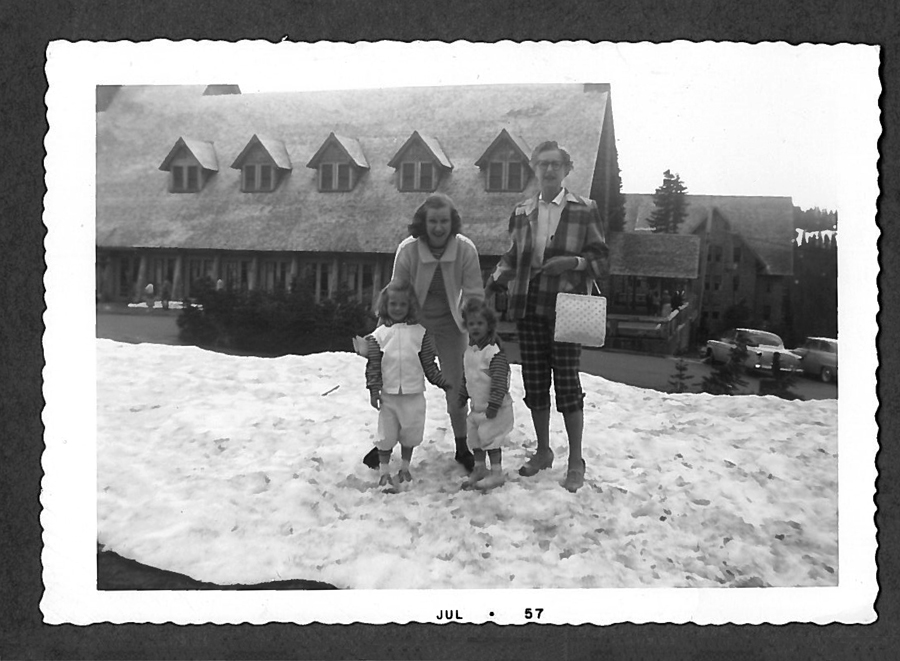 A 1957 photo of a family at Mt. Hood's lodge