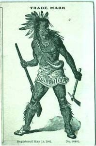 j capps cardboard label, illustrated with a Native American.
