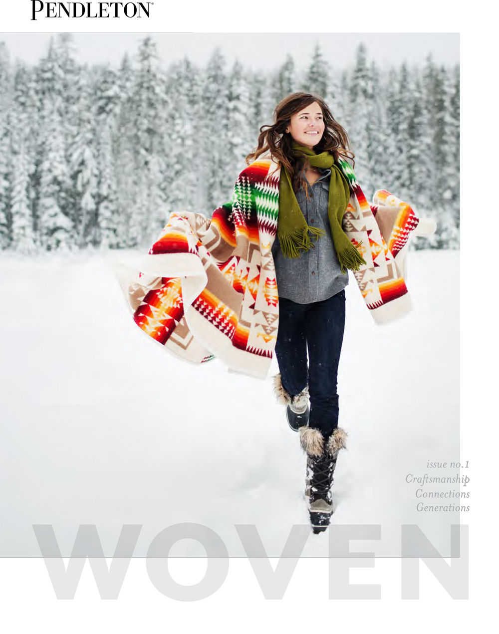 cover of WOVEN, a woman runs in the snow
