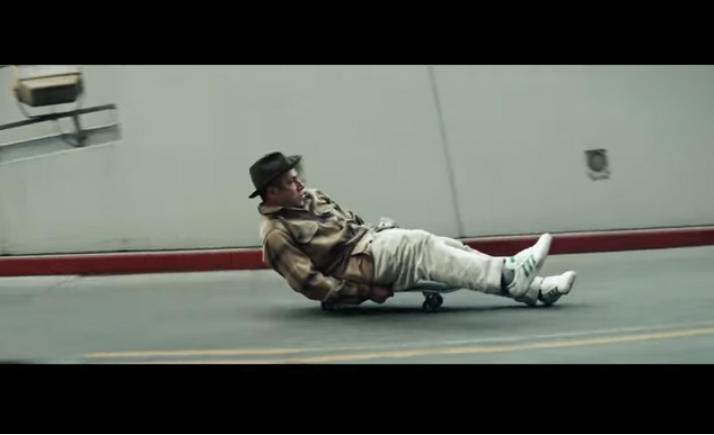 Screen shot of Gonz on a skateboard from Adidas ad