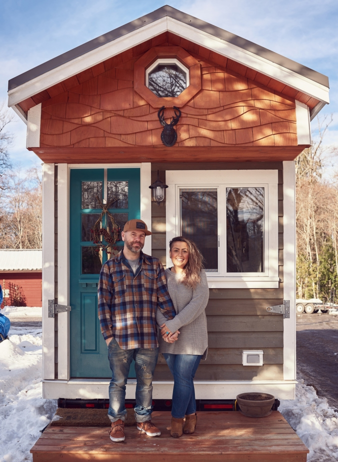 tamara_jaswal photography, Sean and Tam  in front of their tiny home.