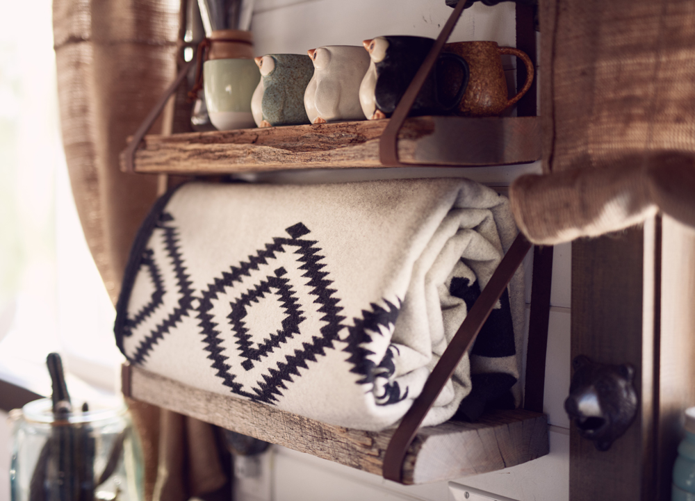 tamara_jaswal: shelf with a Pendleton blanket
