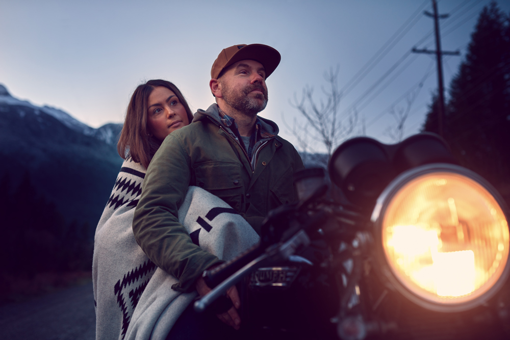 Sean and Tam on a motorcycle