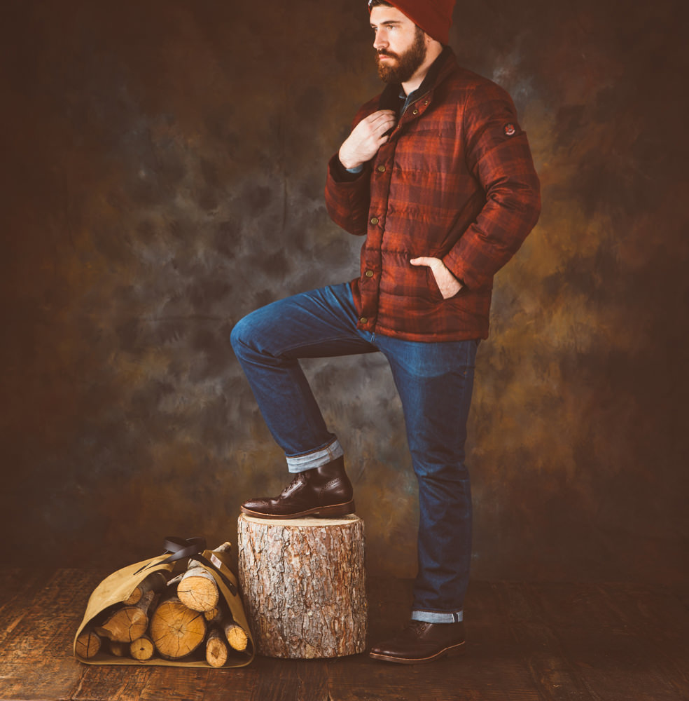Brandon-Burk-Photography; Brandon poses in a Pendleton coat.