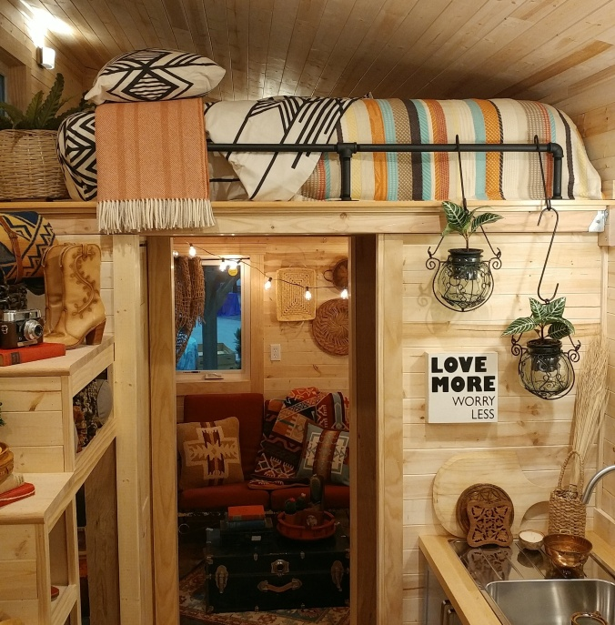 A loft bed in a tiny home.