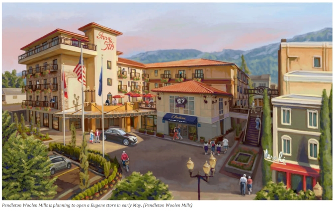 An artist's rendering the Eugene's Inn at the 5th, with surrounding shops.