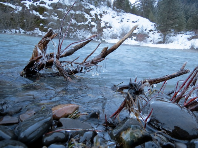 An icy Wallowa River.