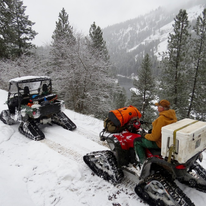 Snowcats on the trail in the Wallowa Range.