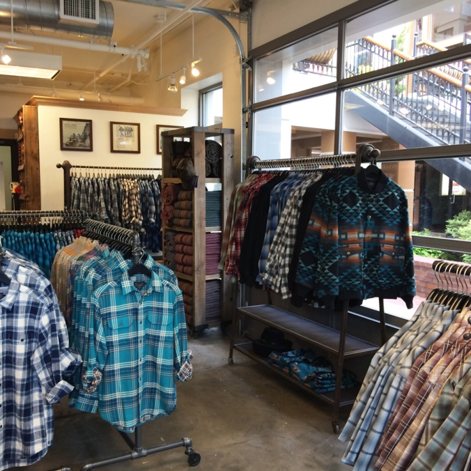 Merchandise on display at the Pendleton store in Eugene, Oregon.