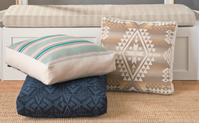 Floor-Pillows covered in Pendleton by Sunbrella performance fabrics.
