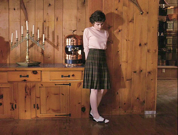 Audrey from Twin Peaks in a Pendleton reversible skirt.
