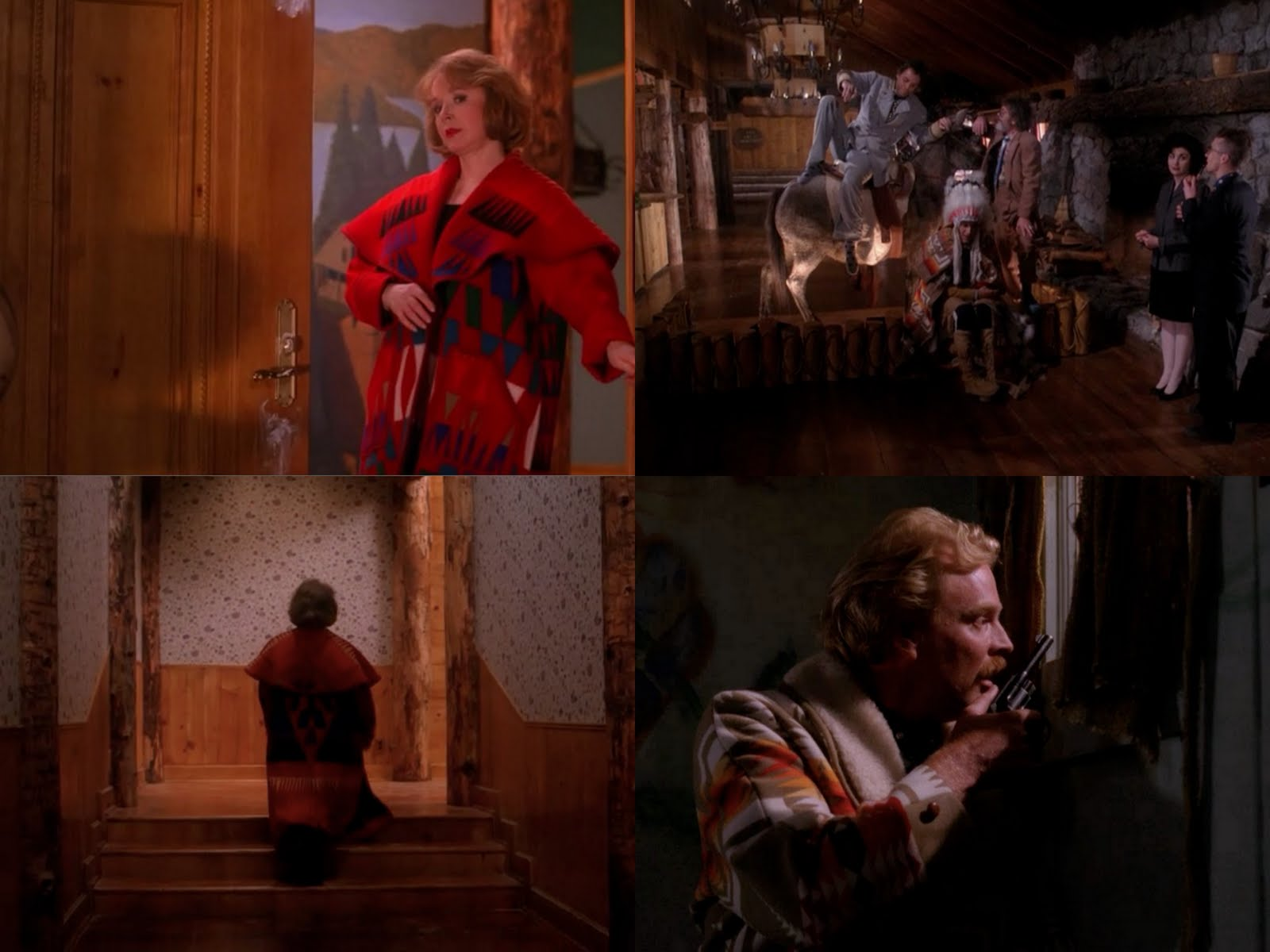 a collage of Pendleton garments as they appeared on the original Twin Peaks.