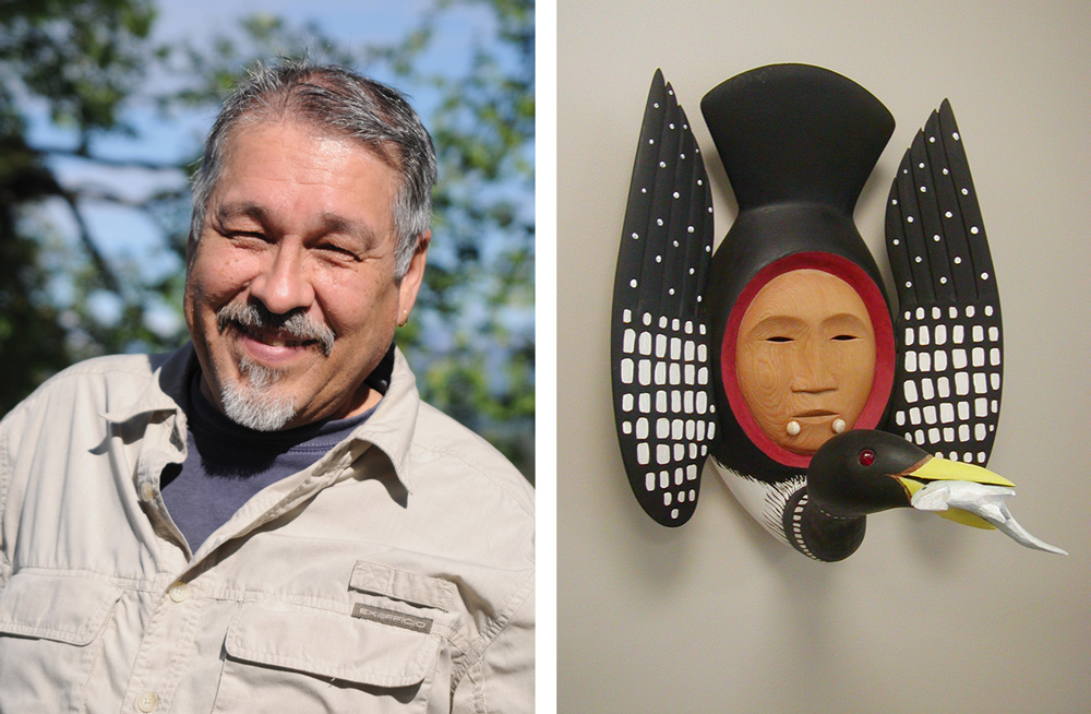 Courtesy-the-Blart-Musem-Alaskan artist Larry Ahvakana and one of his gorgeous wooden masks