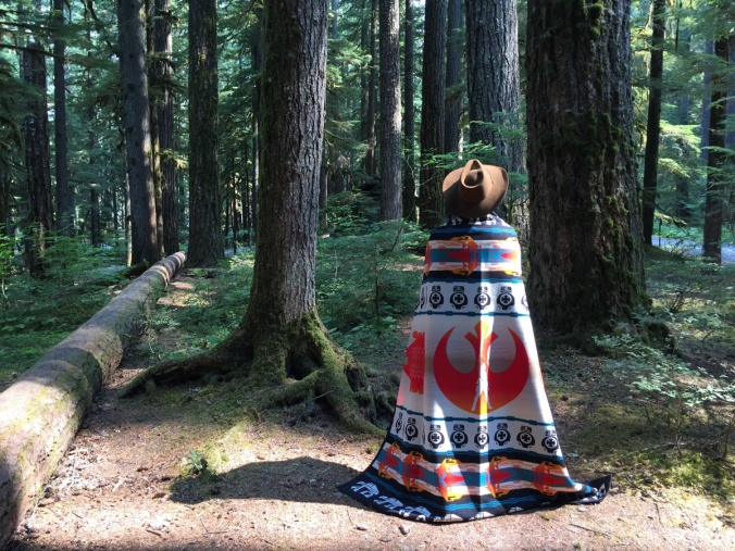 A woman stands at the edge of a forest wrapped in a Pendleton Star Wars blanket.