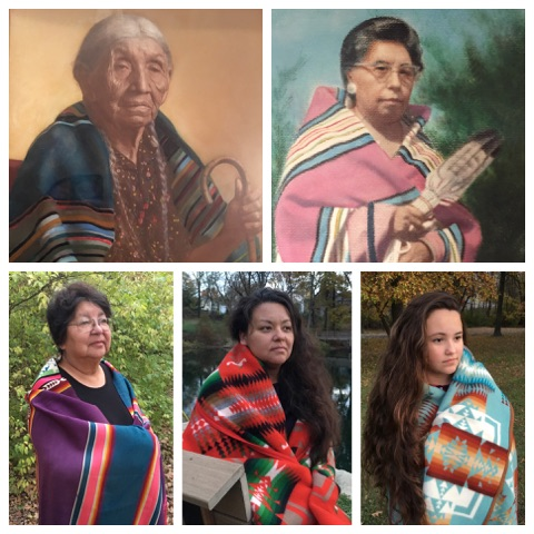 Five generations of Native American women wearing Pendleton blankets