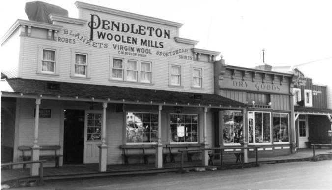 A photo from the Pendleton archives of the Pendleton store in Disneyland: Storefront, the Pendleton Dry Goods Emporium