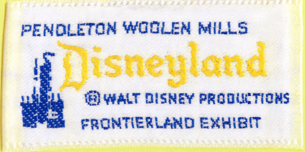 A close view of the special label for Pendleton goods at Disneyland