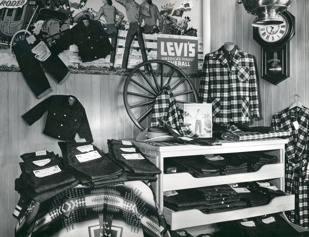 A photo from the Pendleton archives of the Pendleton store in Disneyland: Display with Topster jacket and Levi's