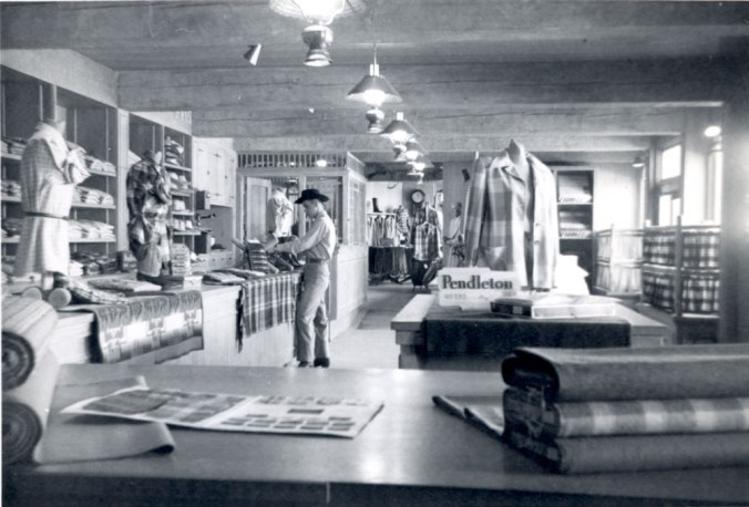 A photo from the Pendleton archives of the Pendleton store in Disneyland: Interior, blanket counter