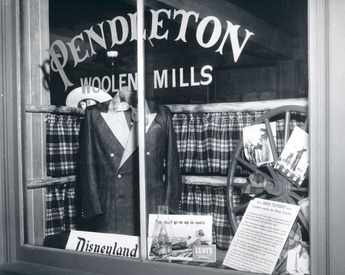A photo from the Pendleton archives of the Pendleton store in Disneyland: Front window