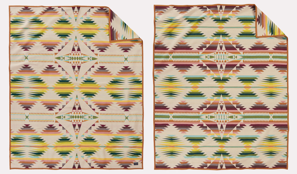 Front and back views of the Falcon Cove blanket by Pendleton