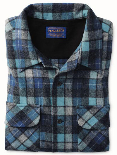 """A folded Pendleton Board Shirt in the Original Surf Plaid as worn on the cover of the """"Surfer Girl"""" album."""