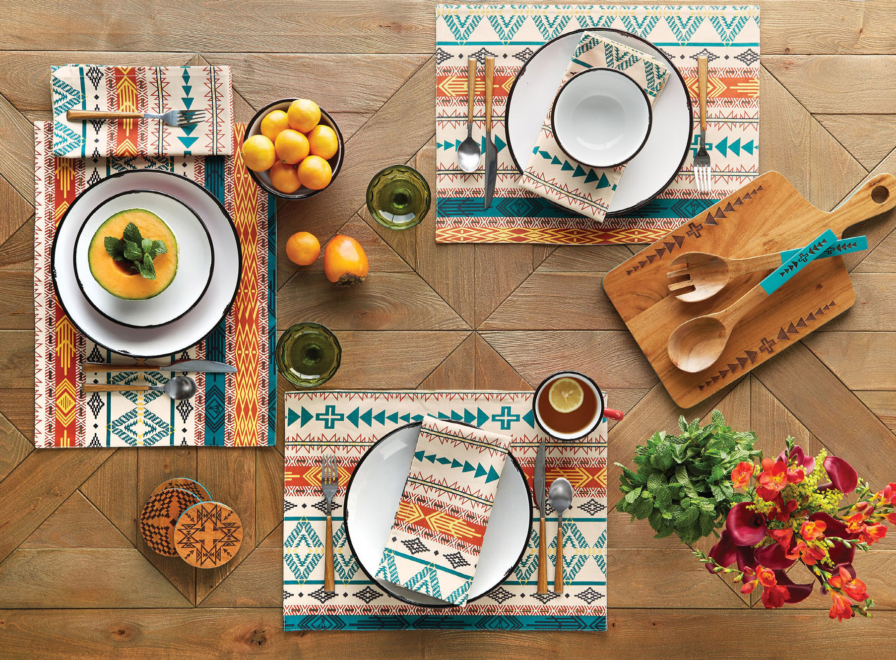 A table set with Pendleton Bright Mesa table linens.