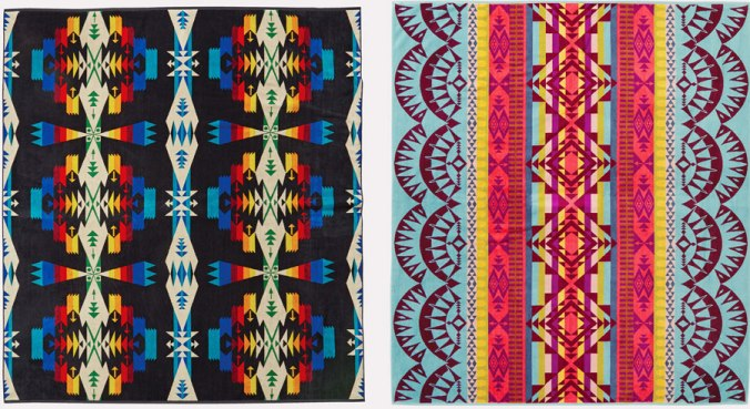 Two Pendleton spa towels, side by side.