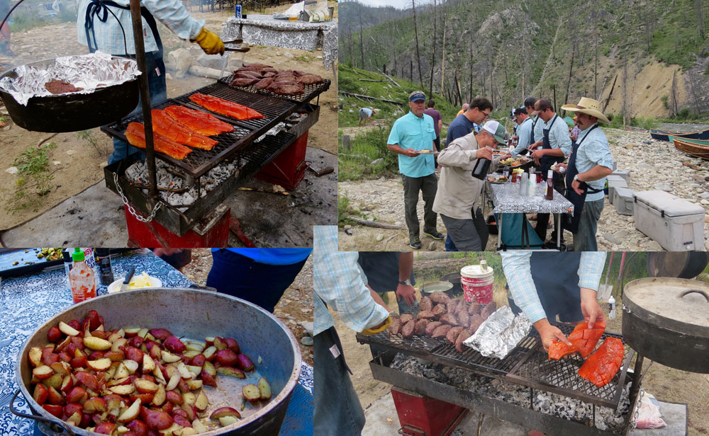 A collage of campfire cooking and chow. Photo by Greg Hatten.