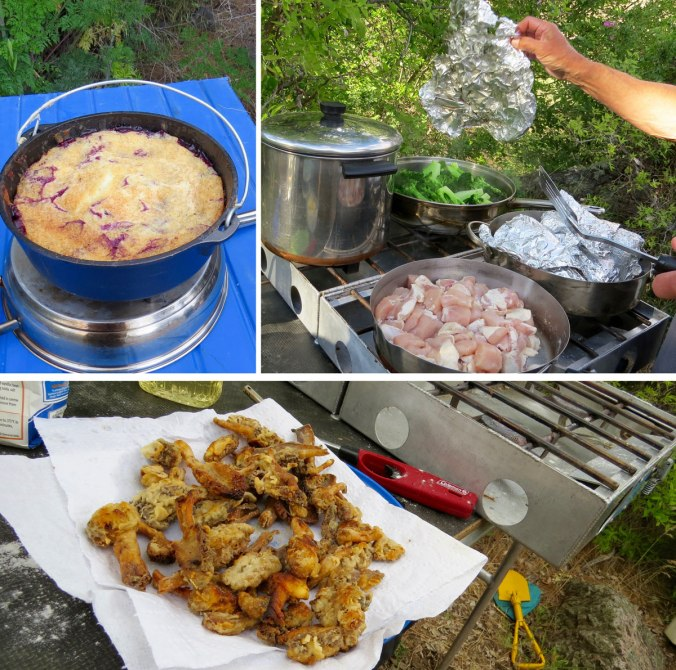 A collage of campfire cookery delights. Photos by Greg Hatten.