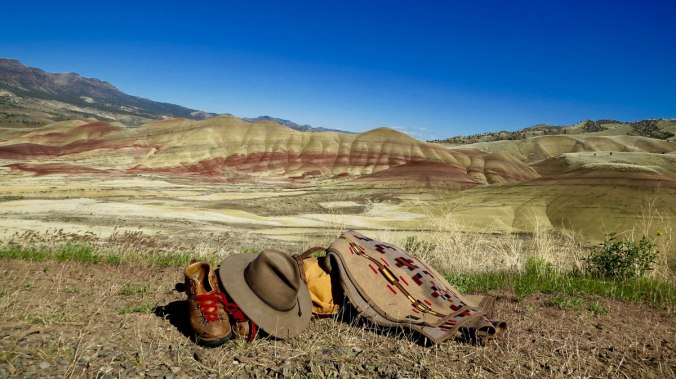 Painted Hills in the A pile of Greg Hatten's gear, including the Painted Hills blanket by Pendleton, at the John Day Fossil Bed National Monument