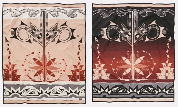 Front and back views of the Center of Creation blanket designed by artist Deborah Jojola, manufactured by Pendleton Woolen Mills.