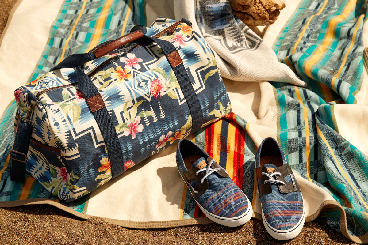 a beach bag, shoes, and a special serape blanket in the Pendleton and Tommy Bahama collaborative line.